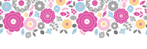 Vibrant floral scaterred horizontal seamless Stock Photos