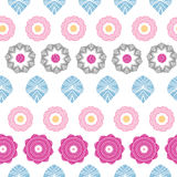 Vibrant floral stripes seamless pattern background Royalty Free Stock Photos