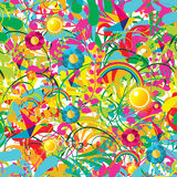 Vibrant floral summer pattern Stock Photo