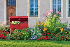 Vibrant flowers in Nevers. Beautiful vibrant summer flowers in the afternoon sun in the city of Nevers, France Stock Photo