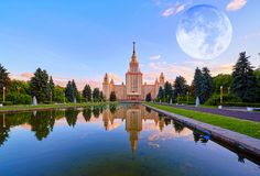 Vibrant full Moon sunset collage of famous Russian unversty camp. Moon collage of famous Russian unversty campus stock images