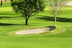 Vibrant golf course and sand trap Stock Photos
