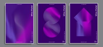 Vibrant gradient backgrounds. Set of abstract backgrounds with vibrant gradient shapes. Design template for covers, placards, posters, flyers, presentations Royalty Free Stock Photos