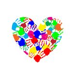 Vibrant heart icon made of multicolored hand prints. Isolated on white background. Vector illustration, logo, clip art. Symbol of childhood, multicultural Stock Photo