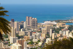 Vibrant Honolulu. Gleaming in morning sun, seen from above Stock Photo