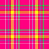 Vibrant hot pink yellow green blue color check diamond tartan plaid fabric seamless pattern texture background Stock Images