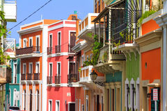 Vibrant houses San Juan. Beautiful typical traditional vibrant street in San Juan, Puerto Rico stock image