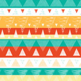 Vibrant ikat stripes seamless pattern background. Vector abstract vibrant ikat stripes seamless pattern background with hand drawn elements Royalty Free Stock Photos
