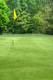 Vibrant image of golf course with flag and sun Royalty Free Stock Photography