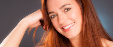 Vibrant Intimate Portrait Head Shot Attractive Female Redhead Royalty Free Stock Image