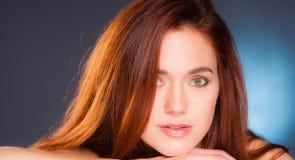 Vibrant Intimate Portrait Head Shot Attractive Female Redhead Stock Photo