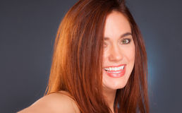 Vibrant Intimate Portrait Head Shot Attractive Female Redhead Wo Stock Photography