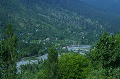 Vibrant landscape near Srinagar-3. A beautiful scene with a green trees spread in the valley of a Kashmir Stock Images