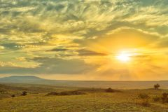 Vibrant landscape with nice skies. HDR photo shooted in Crimea royalty free stock image