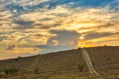 Vibrant landscape with nice skies. HDR photo shooted in Crimea stock photo