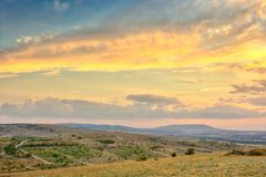 Vibrant landscape with nice skies. HDR photo shooted in Crimea royalty free stock photos