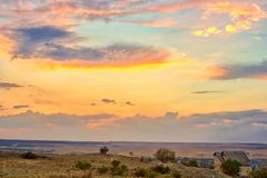 Vibrant landscape with nice skies. HDR photo shooted in Crimea royalty free stock photography
