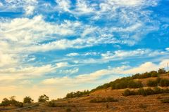Vibrant landscape with nice skies. HDR photo shooted in Crimea royalty free stock photo