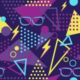 Vibrant Memphis Style Throwback Glasses and Lightening Bolts Seamless Pattern royalty free illustration