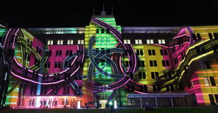 Vibrant moving imagery and soundtrack enthralls at Vivid festival. SYDNEY, NSW, AUSTRALIA - JUNE 2, 2014; Museum of Contemporary Art comes alive with projections royalty free stock photos