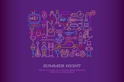 Summer Night vector illustration Stock Image