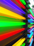 Vibrant neon perspective. Multi-colored neon lamps in perspective Stock Images