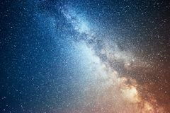 Vibrant night sky with stars and nebula and galaxy. Deep sky astrophoto Stock Photography