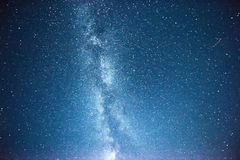 Vibrant night sky with stars and nebula and galaxy. Deep sky astrophoto Royalty Free Stock Images
