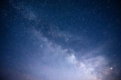 Vibrant night sky with stars and nebula and galaxy. Deep sky astrophoto.  royalty free stock photography