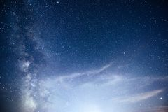 Vibrant night sky with stars and nebula and galaxy. Deep sky astrophoto.  royalty free stock photo