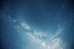 Vibrant night sky with stars and nebula and galaxy. Deep sky astrophoto.  royalty free stock images