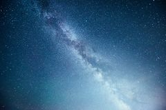 Vibrant night sky with stars and nebula and galaxy. Deep sky astrophoto.  Stock Images