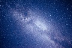 Vibrant night sky with stars and nebula and galaxy. Deep sky astrophoto Stock Photos