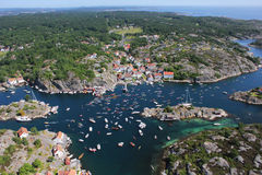 Vibrant Norwegian landscape. Landscape shot from helicopter. Lillesand, Norway during Blindleialøpet Stock Photography