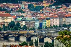 Vibrant old buildings in Prague stock photo