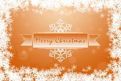 Vibrant orange Merry Christmas greeting card with white snowflakes Royalty Free Stock Photos