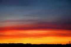 Vibrant orange sunset Stock Images