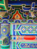 Vibrant painted roof and beams in a Chinese taoist temple Stock Image