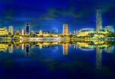 Singapore skyline background. Vibrant panorama background of Singapore skyline at the business bay Stock Photos