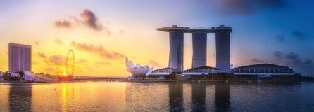 Singapore skyline background. Vibrant panorama background of Singapore skyline at the business bay Stock Images