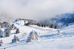 Vibrant panorama of the slope at ski resort Kopaonik, Serbia, snow trees, fog Royalty Free Stock Photo