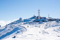 Vibrant panorama of the slopes at ski resort Kopaonik, Serbia, snow trees, blue sky. Vibrant panorama of the slope at ski resort Kopaonik, Serbia, snow pine Stock Image