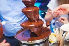 Vibrant Picture of Chocolate Fountain Fontain on childen kids birthday party with a kids playing around and marshmallows and fruit Stock Image