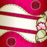 Vibrant pink banner inspired by Indian mehndi Royalty Free Stock Images