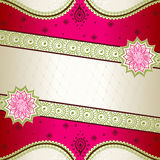 Vibrant pink banner inspired by Indian mehndi Stock Image