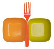 Vibrant Plastic Bowls and Fork Stock Photography