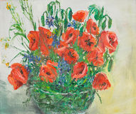Vibrant poppies bouquet in vase, oil painting. Oil painting illustrating a vibrant poppies bouquet in a glass vase Royalty Free Stock Images