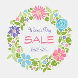 Vibrant poster with beautiful flowers for Women`s Day Sale. stock photos
