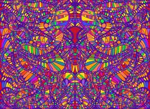 Vibrant psychedelic creative colorful symmetrical kaleidoscope background. Decorative surreal abstract pattern with maze. Of ornament shamanic fantasy texture royalty free illustration