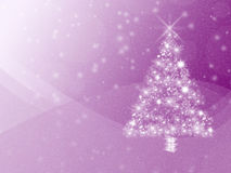 Vibrant purple winter holidays background, with white Christmas tree and copyspace Stock Photography